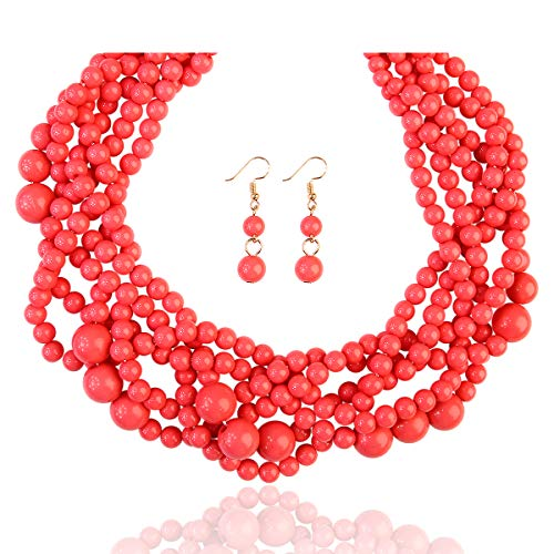 RIAH FASHION Braided Chunky Cluster Bead Bubble Statement Necklace - Multi Strand Twisted Colorful Twisted Ball Hammock Bib Collar (Dusty Pink) ()