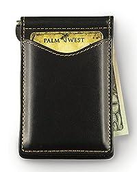 Palm West 225RFID-B Men's Premium Leather, Minimalist Money Clip Bifold Wallet, RFID Blocking