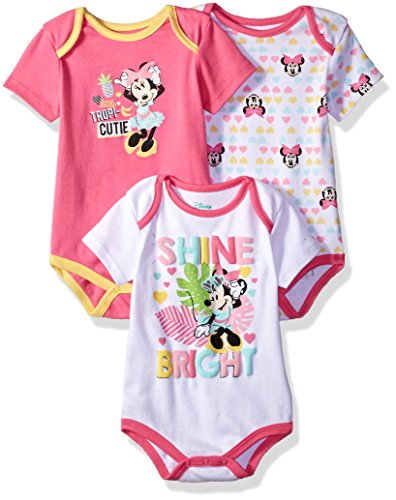 Disney Baby Girls' Minnie Mouse 3 Pack Bodysuits, Multi/Sugar Plum Pink, 18M -