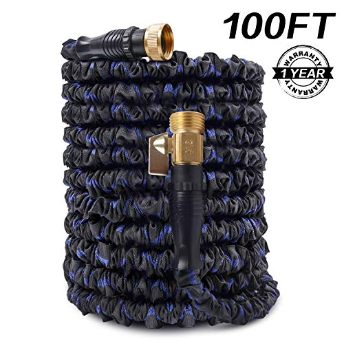 AOFAN Expandable Garden Hose 100ft Water Hose Flexible Expanding Pressure Water Hose with 3/4″ Brass Connector, 3-Layers Latex Core, Extra Strength Fabric,Idea for All Your Watering Needs