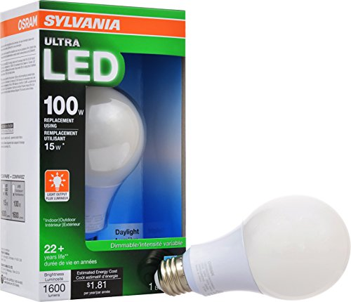 Price comparison product image SYLVANIA ULTRA 100W LED Light Bulb Dimmable - Daylight 5000K, 25,000 hour life, E26 A19 Medium Base - Energy Star 15W