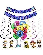 17PCS Paw Patrol Dog Birthday Party Supplies Decorations, 6pcs Paw Patrol Dog Character Hanging Swirl Decorations with 10 pcs Paw Patrol Dog Balloons and Banner