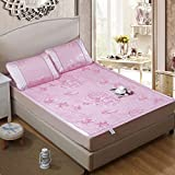 Zhiyuan Folding Non-Slip Jacquard Peony Silky Synthetic Rattan Mattress Top Mat & Pillowcases Set Summer Night, Pink, Queen
