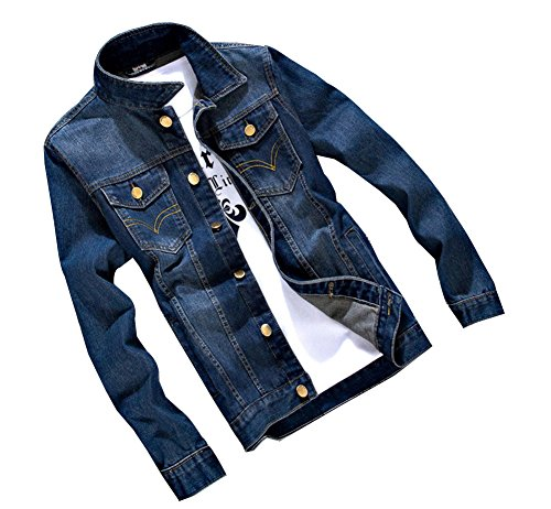 Biker Cappotto Uomo Lunga 5 Manica Di Jeans Fit Slim Denim A Jacket Giacca wYqxUYX