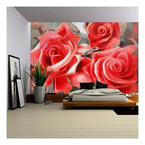 red roses motif hand painted oil