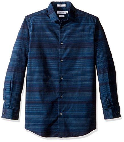 Calvin Klein Big Boys' Long Sleeve Fashion Striped Woven Shirt, Dark Blue, 10
