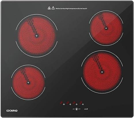 Opinión sobre COOKPAD Vitrocerámica con 4 Zonas de cocción, Quemador eléctrico de Estufa de 60 cm, Cocina de Vidrio Negro [Clase energética A +]