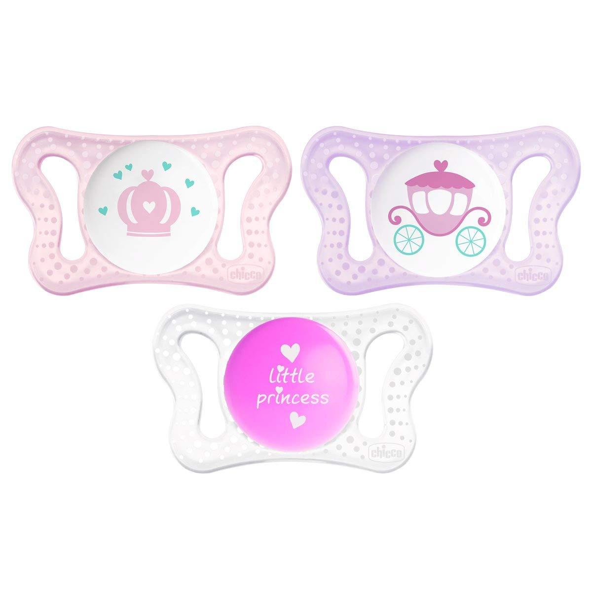 Chicco Physio Micr/ò color rosa modelos aleatorios Pack de dos chupetes de silicona reci/én nacido 0-2 meses