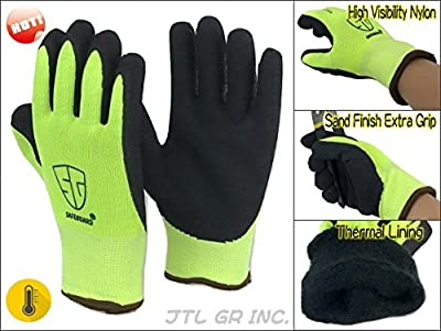 6 Pairs High Visible Winter Thermal Double Lined Black Rubber Work Glove
