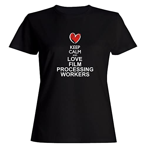 Idakoos Keep calm and love Film Processing Workers chalk style Maglietta donna
