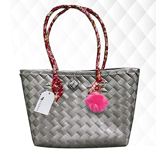 (Misenka Handicrafts Philippine Bayong Slate Grey Carry All)