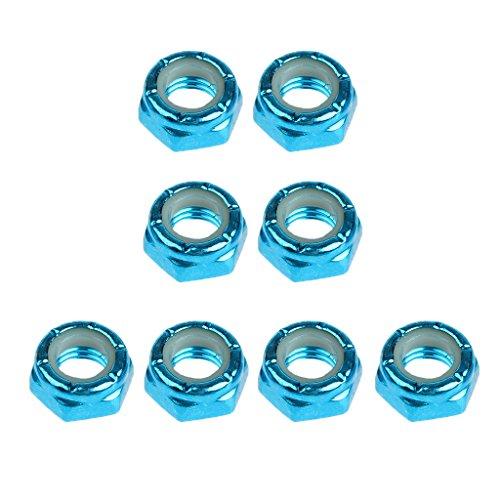 Baoblaze 8pcs Carbon Steel Axle Nuts for Skateboard Longboard Trucks Men & Women Skateboarding - Blue, (Female Axle)