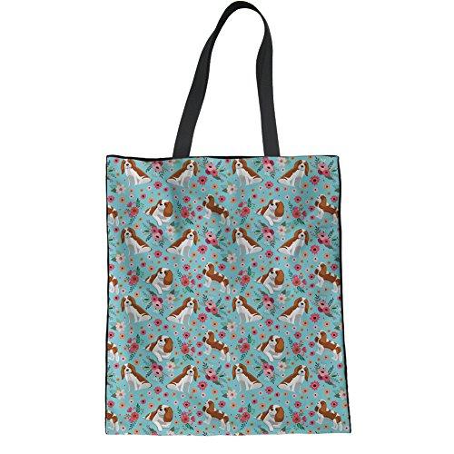 Cute Linen Coloranimal Flower Westie Bag Reusable Womens Charles Spaniel Print Flower Tote Handbag King ZqdRdaw