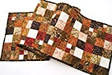 Batik Patchwork Quilted Table Runner in Earth Tones