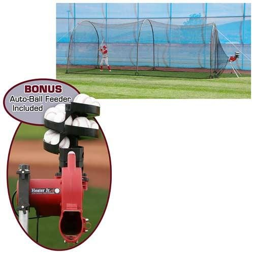 HEATER SPORTS COMPLETE HOME BATTING CAGE w/ HEATER JR. PITCHING MACHINE by Heater Sports