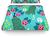 Kess InHouse Anneline Sophia ''Mexican Peacock'' Teal Rainbow Queen Cotton Duvet Cover, 88 by 88-Inch
