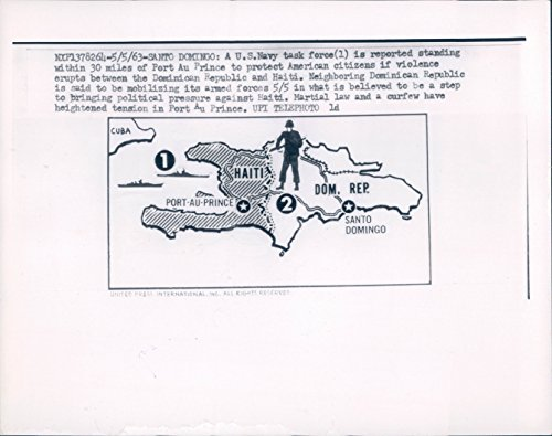 1963 Vintage Port (1963 Photo US Navy Task Force Santo Domingo Map Haiti Port Au Prince Vintage)