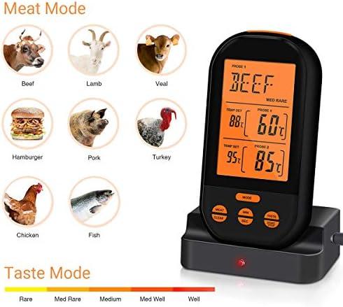 Wireless Dual-Nadel Barbecue Thermometer, Küche Ofen Kein Kochen Barbecue-Fleisch-Thermometer mit 2 Sonden und Timer-Temperatur-Alarm