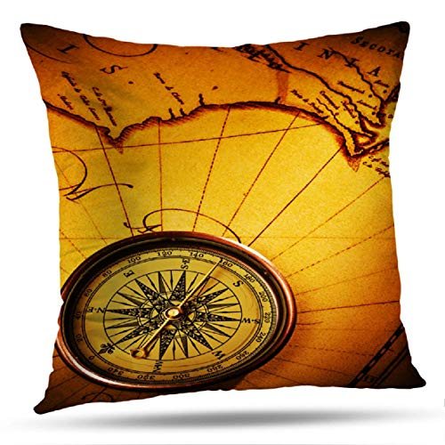 Alricc Antique World Map Decorative Throw Pillows, Compass Old with Map Frame Pattern Abstract Antique Art Brown Cushion Cover for Bedroom Sofa Living Room 18X18 Inches ()