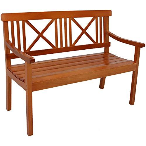 Sunnydaze 2-Person Outdoor Wooden Garden Bench with X-Back Design, 47-Inch, Brown