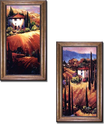Artistic Home Gallery Tuscan Hills & Golden Tuscany by O'Toole 2-pc Premium Bronze Framed Canvas Set (28 in x 16 in Each Framed Piece in Set, Ready-to-Hang)