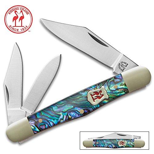 Pocket Knife Abalone Handles - Kissing Crane Genuine Abalone Whittler Pocket Knife