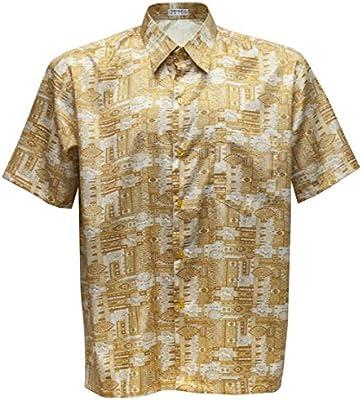 Camisa de hombre de manga corta estampado Paisley de seda tailandesa, dorado, large: Amazon.es: Hogar