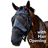 Standard Horse Size Fly Mask with Long Nose Black and Hair Opening - Good Vision Soft and Breathable, All Around Barn, Stable, Pasture, Trail Riding Fly and Sun Protection Fly Masks (Horse Size)