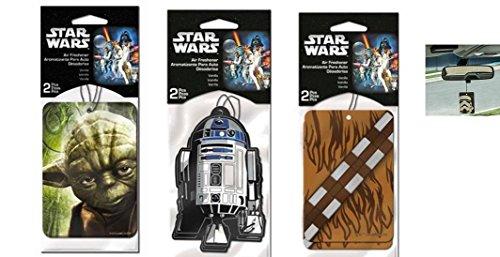 Star Wars 2 Packs Car Hanging Paper Air Freshener Bundle - 3 Items: Yoda, R2d2 and Chewbacca (2 Each, Total of 6 Pcs)
