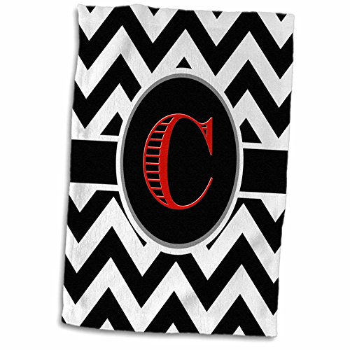 (3dRose Black and White Chevron Monogram Red Initial C Towel, 15