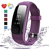 Fitness Tracker - 007plus D107Plus Heart Rate Monitor Fitness Smart Watch Activity Tracker with Sleep Monitor IP67 Waterproof Pedometer Smart Wristband (purple)