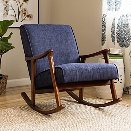Merveilleux Retro Indigo Mid Century Wooden Rocking Chair Rocker Indigo Blue