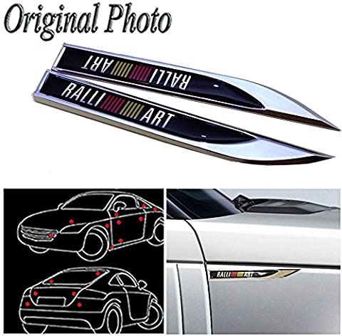 CHAMPLED 2Pcs Great Metal Car Side Fender fit for Sports Black RALLI-ART Skirts Knife Type Sticker Badge Emblem For FORD CHRYSLER CHEVY CHEVROLET DODGE CADILLAC JEEP GMC PONTIAC HUMMER LINCOLN - Chevrolet Avalanche 1500 Front Bumper