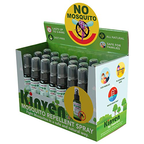 Kinven Mosquito Repellent Spray Bundle - Retail Display Box - Safe, DEET-Free and Long Lasting Anti Mosquito Bite Protection for Kids & Adults, 21 Bottles/Box (1 Oz Bottles, 1 Box)