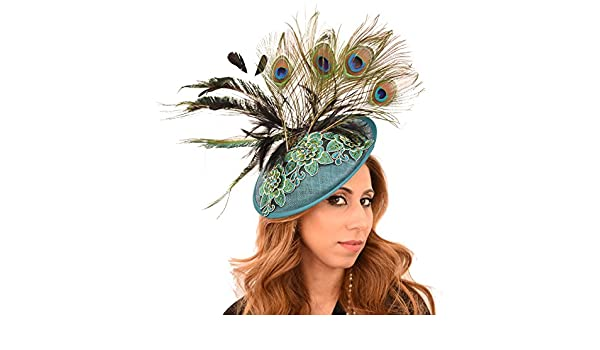 c4f8cfc9 Beautiful King Fisher Teal Green Peacock Blue Embroidered Ascot Derby  Fascinator Hat at Amazon Women's Clothing store: