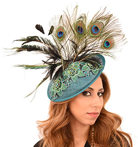 Beautiful King Fisher Teal Green Peacock Blue Embroidered Ascot Derby Fascinator Hat by Hats By Cressida