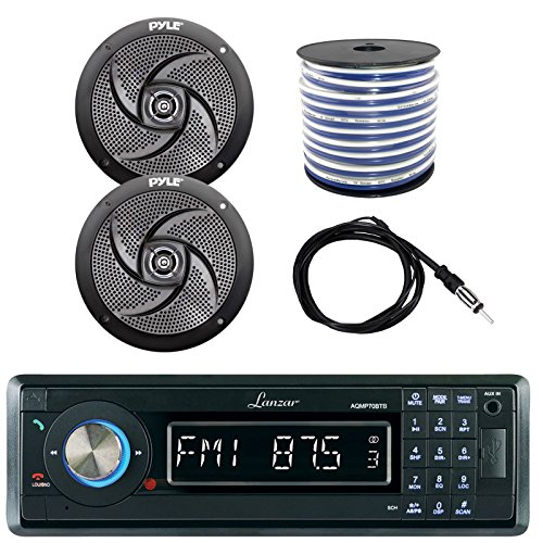 Lanzar AQMP70BTB Single DIN in Dash Bluetooth AUX USB MMC SD MP3 Boat Receiver, 2X Pyle PLMRS6B 6.5
