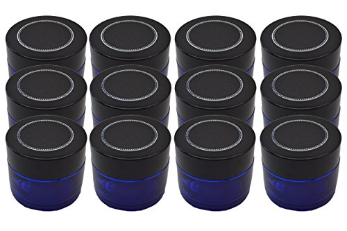 12 Pack Firefly Craft Cobalt Blue Glass Apothecary and Salve Cosmetic Jars with Lids, 4 Ounces Each