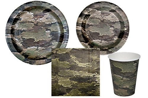 Camo Party Supply Pack - Bundle Includes Paper Plates, Napkins, and Cups for 8 Guests