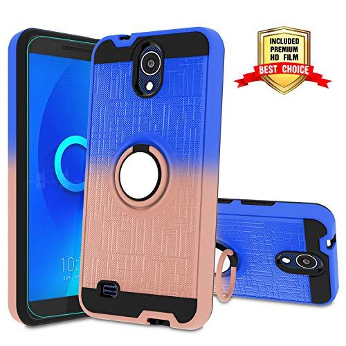 AT&T AXIA Case, AT&T AXIA QS5509A / Cricket Vision DQON5001 Phone Case with HD Screen Protector,Atump 360 Degree Rotating Ring Holder Kickstand Bracket Cover Phone Case for AT&T AXIA Blue/Rose ()