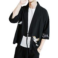 Patrón de grúa para hombre Camisa de hombre de lino medio de Kung Fu de algodón y lino para hombres Prendas de abrigo