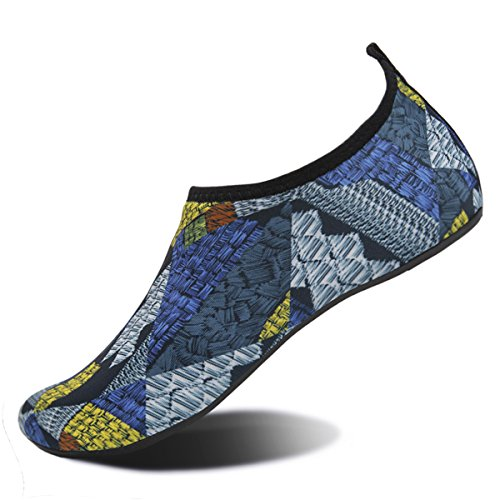 Water Shoes for Womens and Mens Summer Barefoot Shoes Quick Dry Aqua Socks for Beach Swim Yoga Exercise Patchwork/Blue