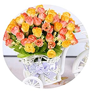 SHEEP YANG Autumn 15 Heads/Bouquet Small Bud Roses Bract Simulation Flowers Home Decorations for Wedding,Orange 101