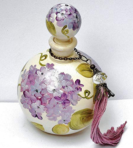 Painted Lavender Hydrangea Vintage Style Round Glass Perfume Bottle with Stopper Cap and Swarovski Crystal Bead