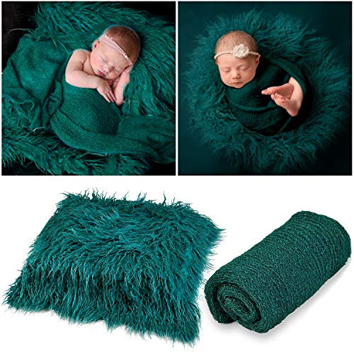 Outgeek Newborn Baby Photography Props Photo Blanket Long Hair Photography Wrap Shaggy Area Rug Baby Photo Prop (Dark Green)