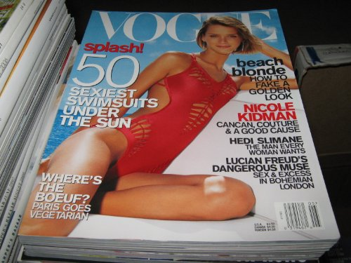 Vogue Magazine (Sexiest Swimsuit Issue , Nicole Kidman , Hedi Slimane , Lucian Freud, May 2001)