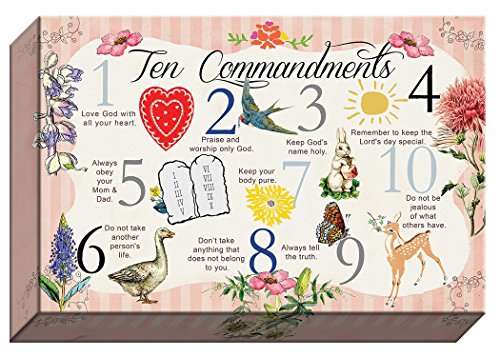 Carpentree 19994 10 Commandment Kids Canvas Artwork, 10 by 15-Inch ()