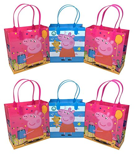 Peppa Pig Premium Quality Party Favor Reusable Goodie/Gift/Bags 12 Pieces