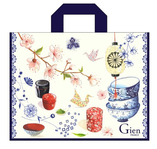 "Gien, Tea Time Large Re-useable Plastic Coated Large Carrier Sac / Gift Bag with Nylon Handles, 18"" Long"