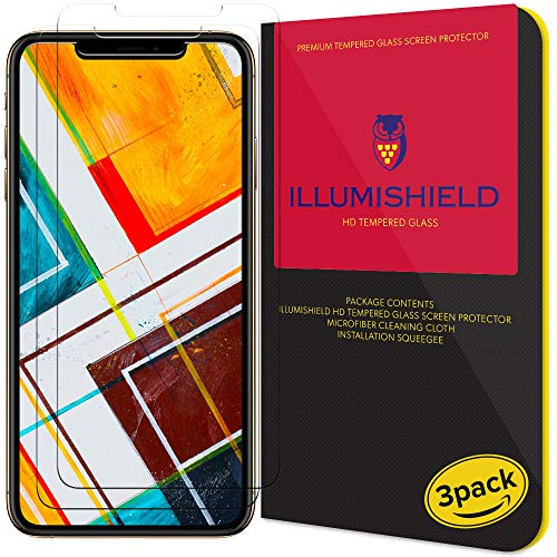 iLLumiShield Glass Screen Protector Compatible with Apple iPhone Xs (3-Pack) Anti-Scrach, Case Friendly and No-Bubble Clear Tempered Glass